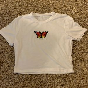 white butterfly crop top